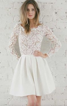 Flower Embroidered Long-Sleeve Skater Wedding Dress