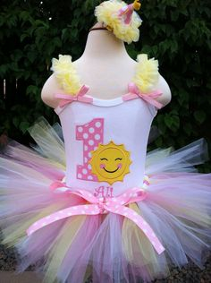 You Are My Sunshine birthday outfit | Ruffle Strap Sunshine Birthday Outfit with Matching Tutu and choice of ...