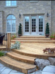 patio, love the steps down, tear down the crappy old deck and do ... - Deck And Patio Ideas Designs