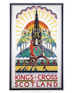 'King's Cross for Scotland', LNER poster, Bradshaw, Laurence Posters Uk, Railway Posters, Cool Posters, Poster Prints, Art Prints, Train Posters, National Railway Museum, Tourism Poster, Travel Ads