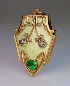 Art Nouveau Antique Enamel Diamond Emerald Locket Pendant - Antique Jewelry | Vintage Rings | Faberge Eggs