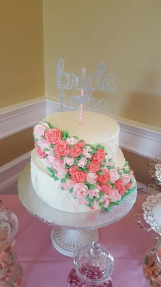 beautiful cascading buttercream rose bridal shower cake muellers bakery