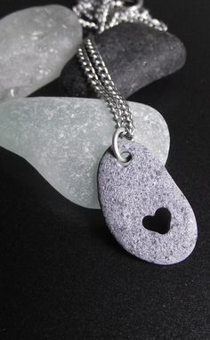 Beach stone with our hand carved heart!
