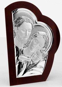 Srebrny obraz Święta Rodzina na drewnie, stanowi doskonały prezent dla dziecka z okazji Chrztu. #komunia #podziekowania_dla_rodzicow #rocznica