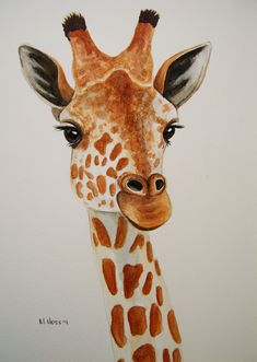 Giraffe portrait in watercolour | by serene04