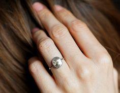 Diamond Slice Ring Grey Diamond Ring Gray Diamond Ring