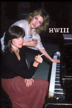 Stevie  ~ ☆♥❤♥☆ ~  and Sandy Stewart, songwriter, singer and keyboardist; Sandy sang background vocals, played keyboards, synthesizer and piano for Stevie's second solo album 'The Wild Heart', released in 1983 and in later albums; this photo is from the recording 'Cat Dancer' in late 1983 ~ photo taken by Herbert W. Worthington 111 ~ https://en.wikipedia.org/wiki/Sandy_Stewart_(musician)