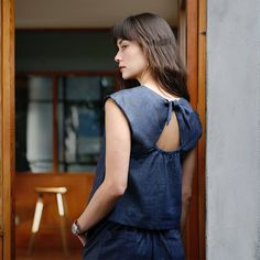 This little boxy top is totally cute, a little flirtatious, and endlessly fun. Sustainably made in U. Easy Shape, Eco Clothing, Stylish Blouse Design, Denim Top, Denim Fabric, Festival Outfits, Comfortable Outfits, Sustainable Fashion, Fashion Brand