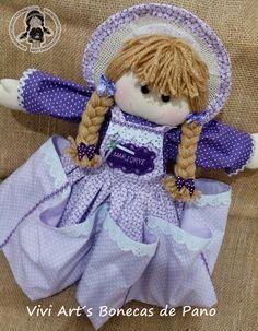 Vivi Art´s Bonecas de Pano: Boneca Porta Fraldas com nome bordado