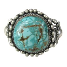 Navaho Sterling Turquoise bracelet OLD Pawn Cuff | From a unique collection of vintage cuff bracelets at http://www.1stdibs.com/jewelry/bracelets/cuff-bracelets/