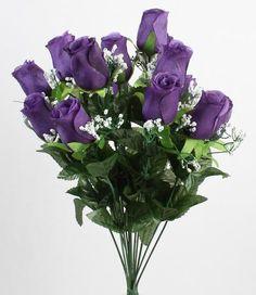 Purple Silk Closed Rose Bud Bush - Wedding Floral Bouquets - Bridal Florals - Wedding Supplies-