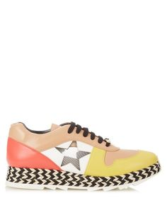 af76c301fa34 Stella McCartney Macy contrast faux-leather trainers Yellow Espadrilles