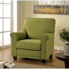 Furniture of America Prior Flax Accent Chair in Blue