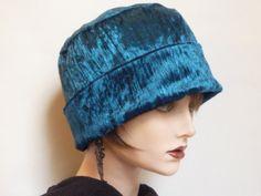 Ladies Velvet Hat In Teal Blue by SatzDesigns on Etsy