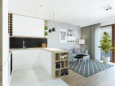 Mieszkanie 80m2 / Wiślane Tarasy, Kraków - Średnia otwarta kuchnia w kształcie litery u w aneksie z wyspą, styl nowoczesny - zdjęcie od INNers - architektura wnętrza