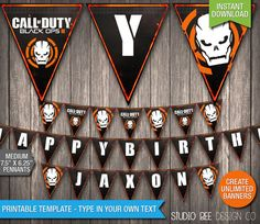 Call of Duty Black Ops 3 Banner - INSTANT DOWNLOAD - Printable COD Black Ops Happy Birthday Name Banner - DiY Personalize & Print (BOmb02)