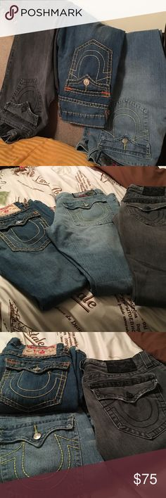 MENS True Religion Jeans🌟 Men's Trues...Billy Super Tee..36x32..40x36(fits good on 38 too)..Grey Billy 32x33/34..Ladies if you're plus size these are your denims too🙃💫💫FYI...the 36 billy super Tee measures like a 32💫💫the price is for 1💫 True Religion Jeans Relaxed