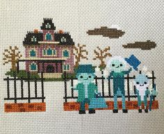 """""""Finished!  Here is my Haunted Mansion inspired cross stitch pattern. Spooky house ✔️ full moon✔️ cemetery ✔️ hitch hiking ghosts✔️✔️✔️ I hope you love…"""""""