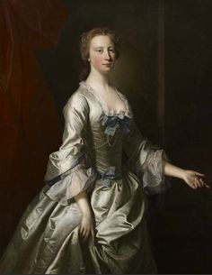 Portrait of Sarah Bridgeman, c.1750, by Allan Ramsay (1713–1784). Ramsay, like other London portraitists, employed the services of Joseph van Aken (1699–1749) and his brother Alexander (1701–1757) who were professional drapery painters. There is evidence the artist has intervened to add final touches that help to smooth over the difference between his own hand and that of the drapery painter.