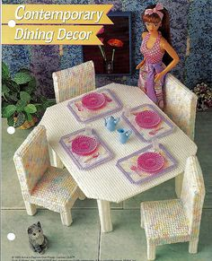 Plastic Canvas Doll Furniture Dining Set Table and Chairs