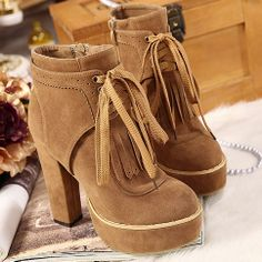 Roman Style Pure Color High-heeled Booties