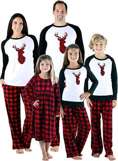 d524d6f970 Christmas pajamas for the family  Love the reindeer and plaid patterns!