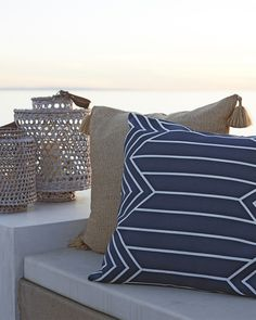 When stripes meet chevrons, something good is bound to happen. The clean lines and textural basketweave bring beautiful balance indoors and out. Outdoor Life, Outdoor Living, Outdoor Decor, Outdoor Pillow Covers, Sailor Fashion, Portsmouth, Recycled Glass, Porch Decorating, Coastal Living