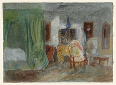 Joseph Mallord William Turner, 'A Bedroom at Petworth House' 1827