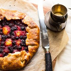 Yellow Plum and Blueberry Galette. Yellow plums and blueberries are a beautiful and delicious medley in this stunning galette. Plum Recipes, Fruit Recipes, Sweet Recipes, Blueberry Galette, Plum Pie, Yellow Plums, Eat Dessert First, How Sweet Eats, Food To Make