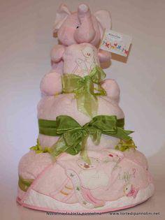 Torta Elefantino Rosa - Nuvolina, la Torta Pannolina