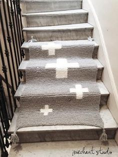 Grey wool blanket with white crosses by MechantStudio on Etsy