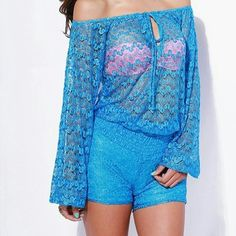 "1DAY SALE!NEW: Crochet Bell Sleeved Romper Super Feminine Off-Shoulder Retro Crochet Romper In A Refreshing Electric Blue! Features Long-Sleeve Top Half with Bell Sleeves, Sexy Keyhole at Neckline & Lined Shorts. Wear It On A Date,To The Night Club, or Just a Beautiful Sunny Day! 100% Polyester. Lined shorts. Made in the USA. Model is 5'7"" wearing a size small. AVAILABLE in SMALL & LARGE. DO NOT BUY THIS LISTING. Comment with the size you want and I'll make a listing for you. Other"