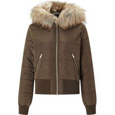 Miss Selfridge Khaki Puffer Bomber Jacket ($60) ❤ liked on Polyvore featuring outerwear, jackets, khaki, puffy jacket, miss selfridge, brown puffer jacket, brown jacket and bomber jacket