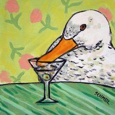 Duck at the Martini Bar Bird Art Tile coaster GIFT by lulunjay