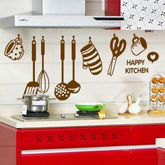 Barato Moda decoração removível adesivos Hpppy cozinha utensílios de cozinha adesivo 105 CM x 40 CM decalques de parede de PVC PN176, Compro Qualidade Papéis de parede diretamente de fornecedores da China:      Moda decoração do quarto removível adesivos hpppy utensílios de cozinha cozinha adesivo 105 cm x 40 cm PVC adesivos