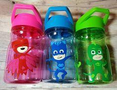 Personalized Pj masks cups-Owlette Catboy Gekko. Pj masks birthday party favors!  https://www.etsy.com/listing/269360501/personalized-12-oz-water-bottlestraw