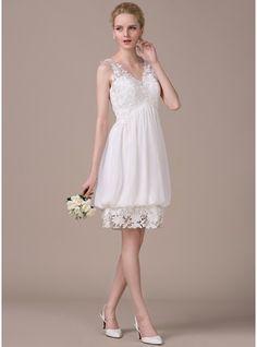 A-Line/Princess V-neck Knee-Length Chiffon Lace Wedding Dress With Ruffle