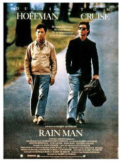 Rain Man est un film de Barry Levinson avec Dustin Hoffman, Tom Cruise. Synopsis : A la mort de son père, Charlie Babbitt, homme d'affaires pressé, hérite d'une vieille Buick qu'il convoitait depuis longtemps mais se voit spolié de q
