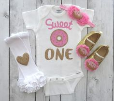 e10b451cfe Sweet One Donut First Birthday Onesie in pink and gold - donut grow up