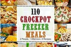 If you're looking for an EPIC crockpot freezer meals cooking session...Check this out! 1 afternoon, 2 people, 8 recipes and you get 110 freezer meals...