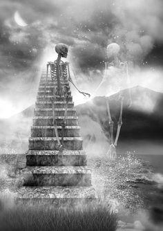 Staircase Skeleton Pics Love Santa Muerte Skeletons Beautiful Dark Art