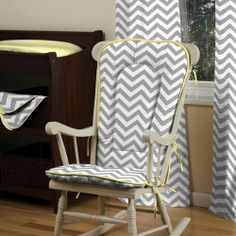 round grey and white nursery rug | Gray and Yellow Zig Zag Rocking Chair Pad | Carousel Designs
