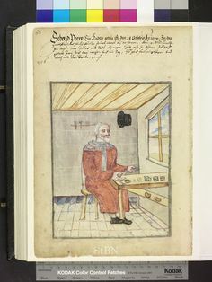 """Amb. 317b.2° Folio 58 verso """"the brother is wearing a long orange robe, sits at his work table and tampered with needles; in his right hand he holds a venal. on the table are a hammer, a bowl and needles stuck in the wall bracket inexpensive and hammer. the actual production process is not subject of the picture."""""""