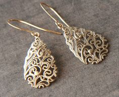 Gold Earrings  Gold Floral Design Earrings  by lilabelledesign, $18.00  Gold Earrings - Gold Floral Design Earrings - Elegant Eyecatching, Perfect Gift, Dainty Jewelry, Delicate Earrings - Christmas Gifts  https://www.etsy.com/listing/89530690/gold-earrings-gold-floral-design?ref=shop_home_active