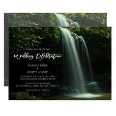 #white - #Mountain Country Waterfall Wedding Invitation