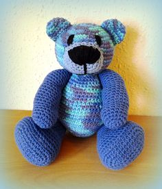 Crochet Teddy Bear Blue-Blue by CrochetlandRV on Etsy
