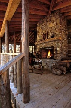 Country living. Outdoor fireplace and living area