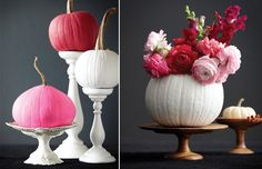 Love the pumpkin painted white and used as a vase!
