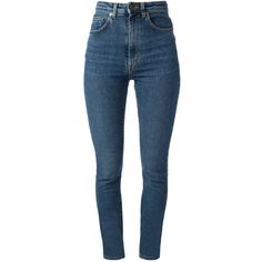 Saint Laurent High Waisted Denim Jeans (€325) ❤ liked on Polyvore featuring jeans, pants, bottoms, calças, trousers, blue skinny jeans, super skinny jeans, highwaist jeans, super high-waisted skinny jeans and skinny leg jeans