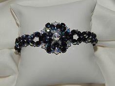 bracelet chic cristal swarovski blanc et facettes de verre bohème noir ab  €10